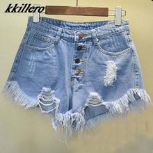 Pantalones cortos vaqueros de cintura alta azules para mujer, Vaqueros cortos desgastados con agujeros de rebaba, estilo europeo y americano, 2020