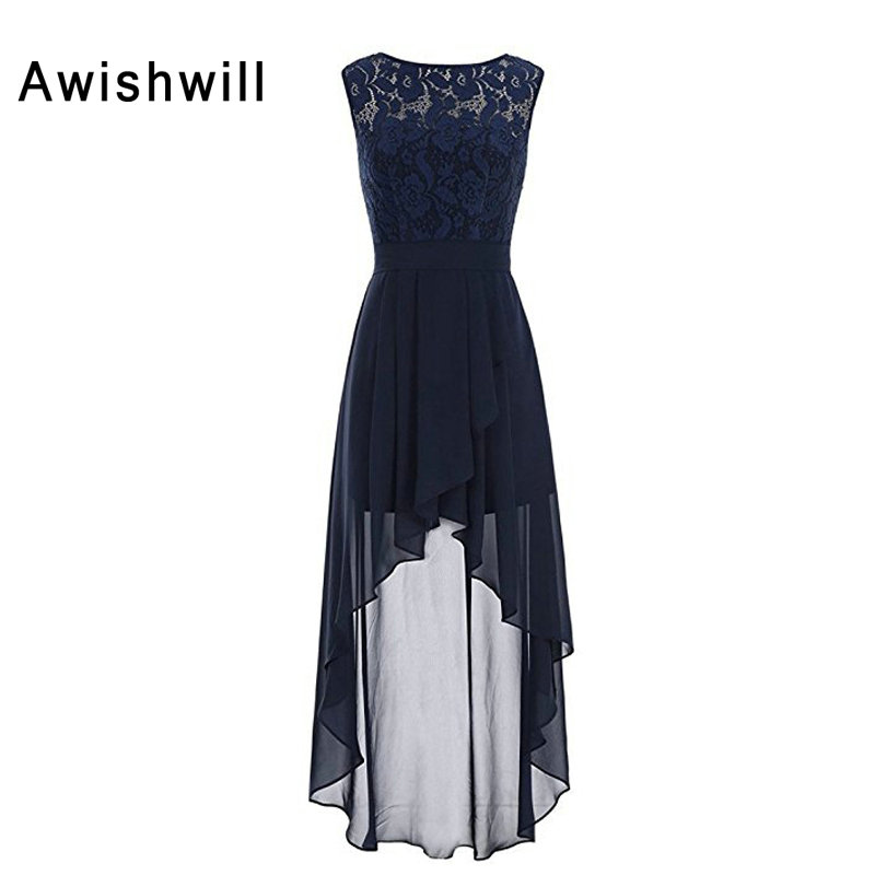 New Arrival High Low   Bridesmaid     Dresses   for Women Sleeveless Lace and Chiffon Cheap Wedding Guest   Dress   Formal Gowns
