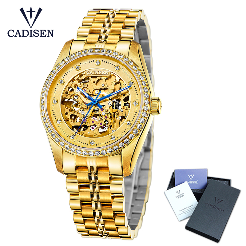 Cadisen Gold Mens Watch Stainless Steel Skeleton Mechanical Watch Top Hollow Out