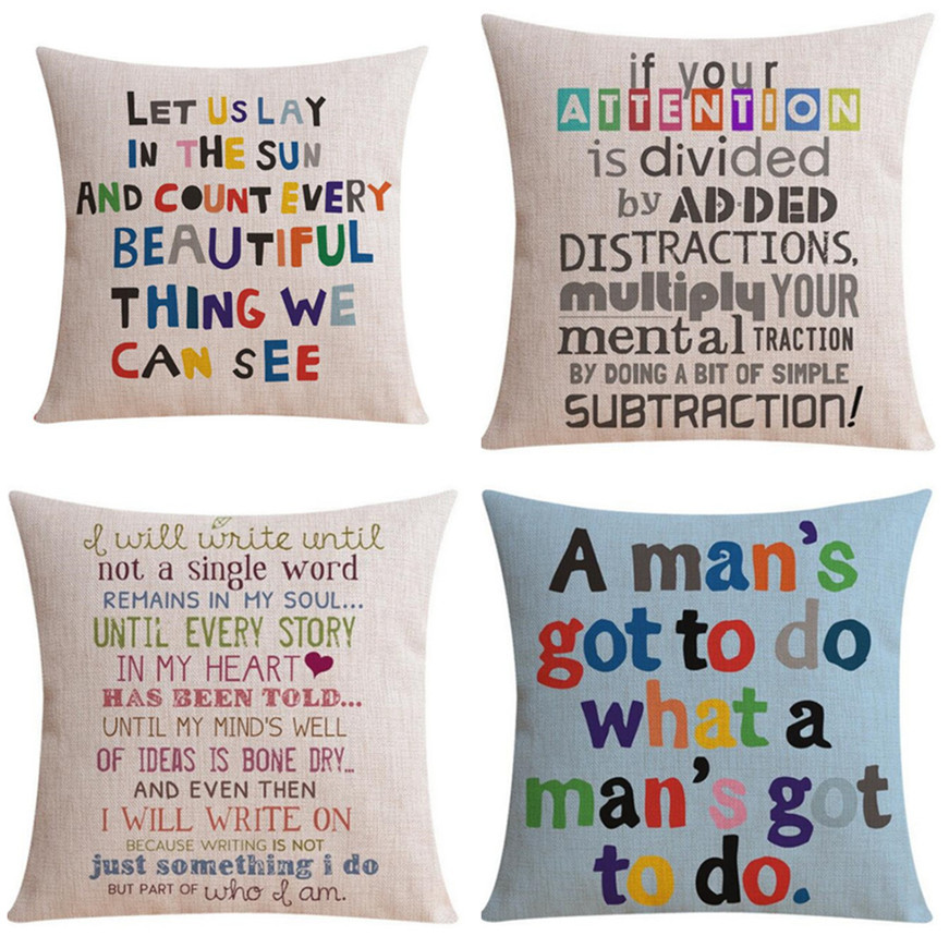 Colorful Words Pillow Cover Motto Home Decor Cushion Cover