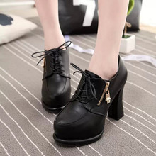 Women's Pumps New 2016 Women's Spring Shoes High Heels Single Shoes Thick Heel Platform Shoes Black High-heeled Shoes Wholesale