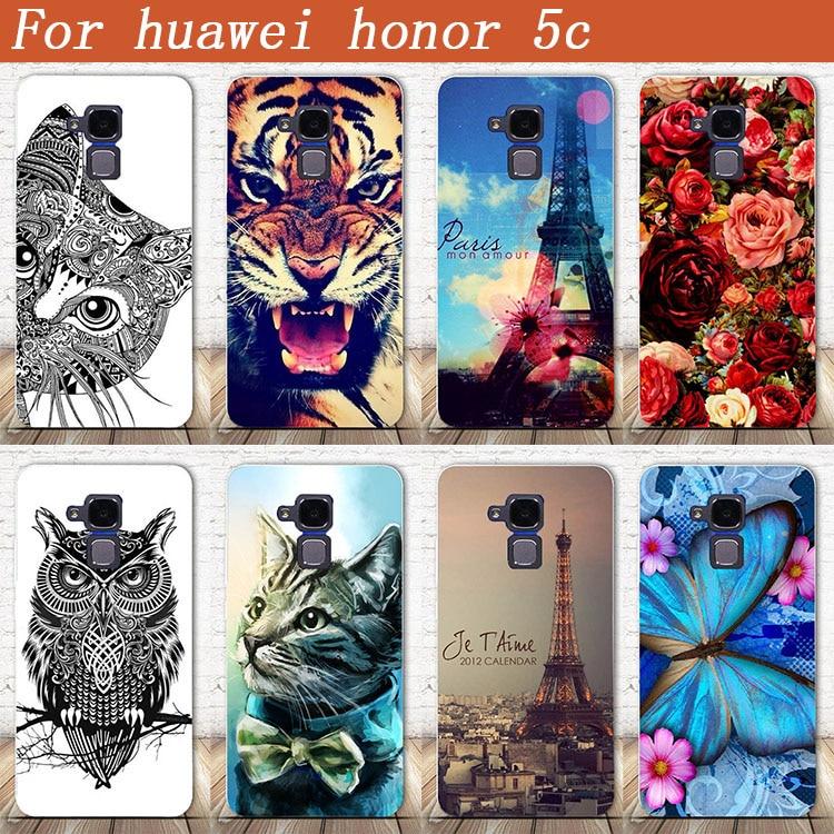 Kualitas tinggi diy uv lukisan berwarna tiger owl rose keras pc case untuk huawei honor 5c huawei honor 7 lite huawei gt3 penutup tas