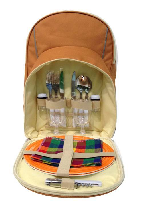 2 Person Camping Sport font b Tartan b font Picnic Bag Backpack With Cooler Compartment Detachable