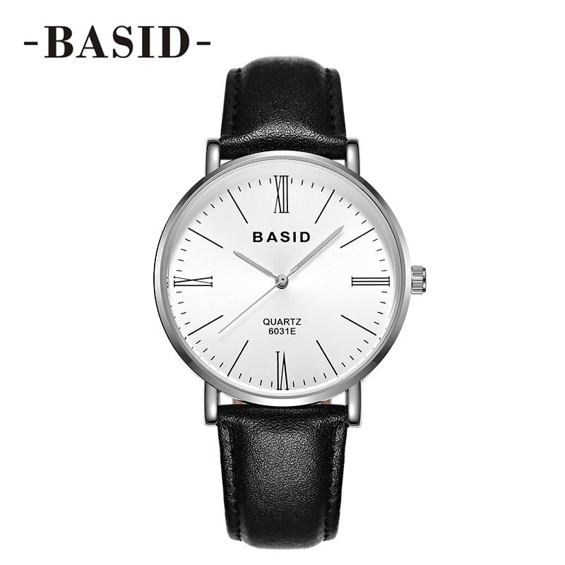 BASID 브랜드 쿼츠 레이디 시계 방수 여성용 시계 정품 가죽 럭셔리 선물 애호가 커플 손목 시계 relogio feminino