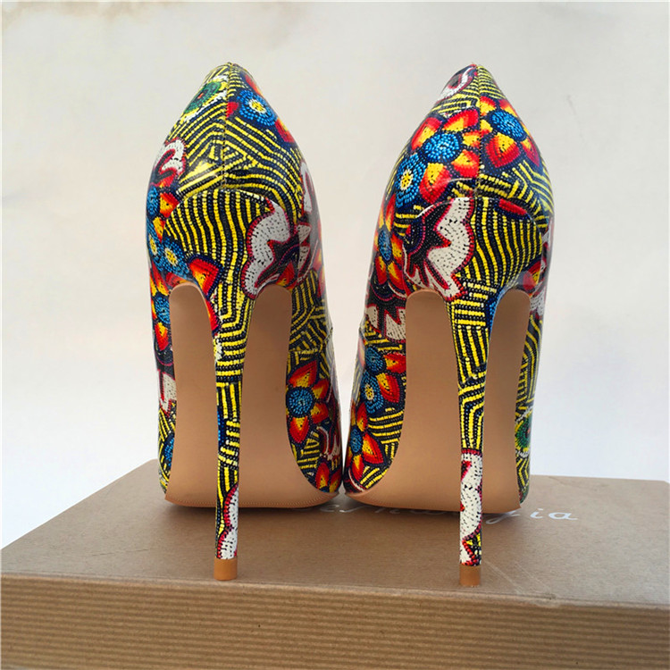 Chaussures De Mariage Sapato Fleurs Pompes Sexy Fête Talons Femmes Femme Point Imprimé Keshangjia Orteil 12cm Dames WIH9YeED2b