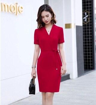 Novedad Vestidos formales ceñidos a la cadera rojos para mujer, Vestidos informales a la moda de verano 2019 para mujer, ropa de trabajo de negocios para mujer