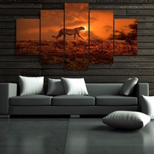 Canvas Painting Wall Art Home Decor Frame 5 Pieces Sunset Sky Landscape Animal Leopard For Living Room Modern HD Printed Posters