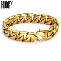 HIP Hop 15MM Wide Mens Chain Bracelet Gold Color Titanium Stainless Steel Curb Cuban Bracelets for Men Jewelry Length 21CM