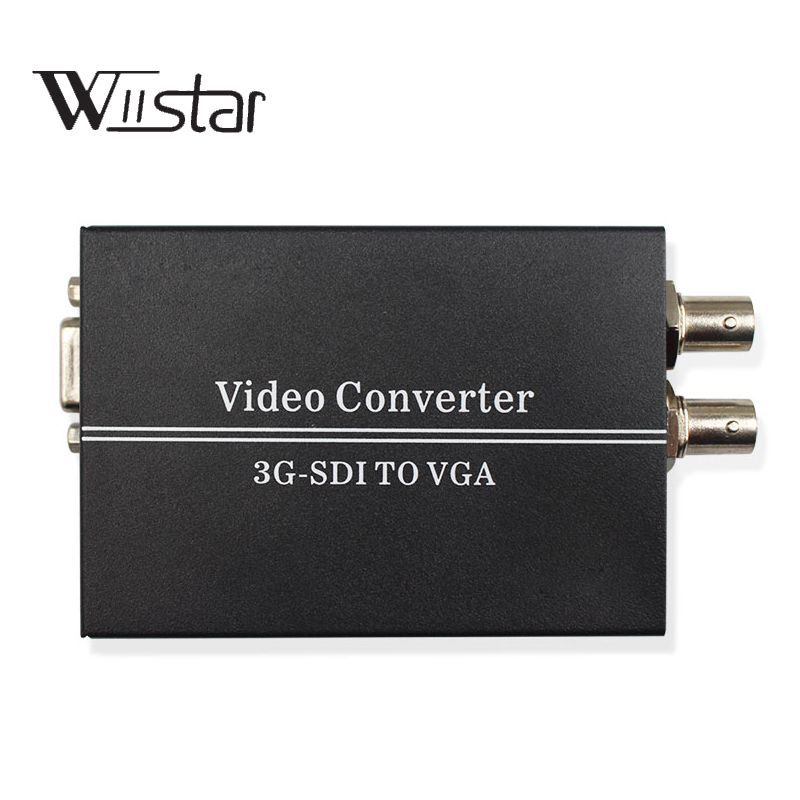 SDI TO VGA Converter BNC HD 3G SDI to VGA 1080P+ Audio Converter with SDI Loop 3.5mm Jack Support Up to 300M for Monitor Camera 1080p 3g hdmi to sdi bnc converter sdi to hdmi converter hdmi sdi bnc extender over single 100m 328ft coaxial cables