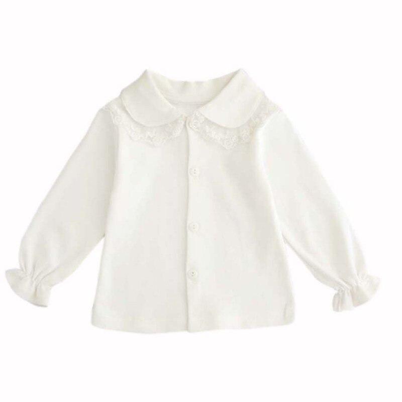 Analytisch Baby Meisjes Shirts Jas Herfst Lange Mouwen Turn Down Kraag Witte Blouse Baby Shirt Kant Kid \'s Meisje Blouses Kleding 2 Stijl