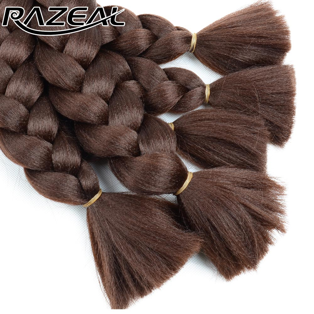 Jumbo Braids Razeal 24 Inch 100g Ombre Jumbo Braids 5 Pcs Synthetic Brading Hair Extensions Crochet Hair High Temperature Fiber Hair Extensions & Wigs