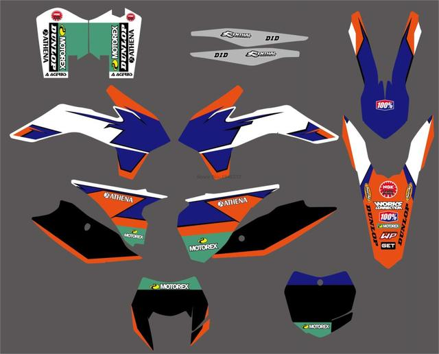 6 Styles Bull Rockstar Team Graphics Decals Stickers For KTM 125 200 250 300 450 500 EXC XCW XCF XCFW EXCF 2014 2015 2016