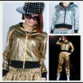 Jazz harém mulheres Ouro Prata fina Top ds desgaste desempenho sexy Reflexiva Do Laser Lantejoulas jazz de dança Zíper jaquetas curtas