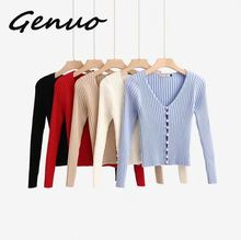 Genuo 2019 Spring New Stylish Knitting Single Breasted Pearl Cardigan Sweater Woman Deep V-neck Long Sleeve Jumper double breasted v neck knitting cardigan
