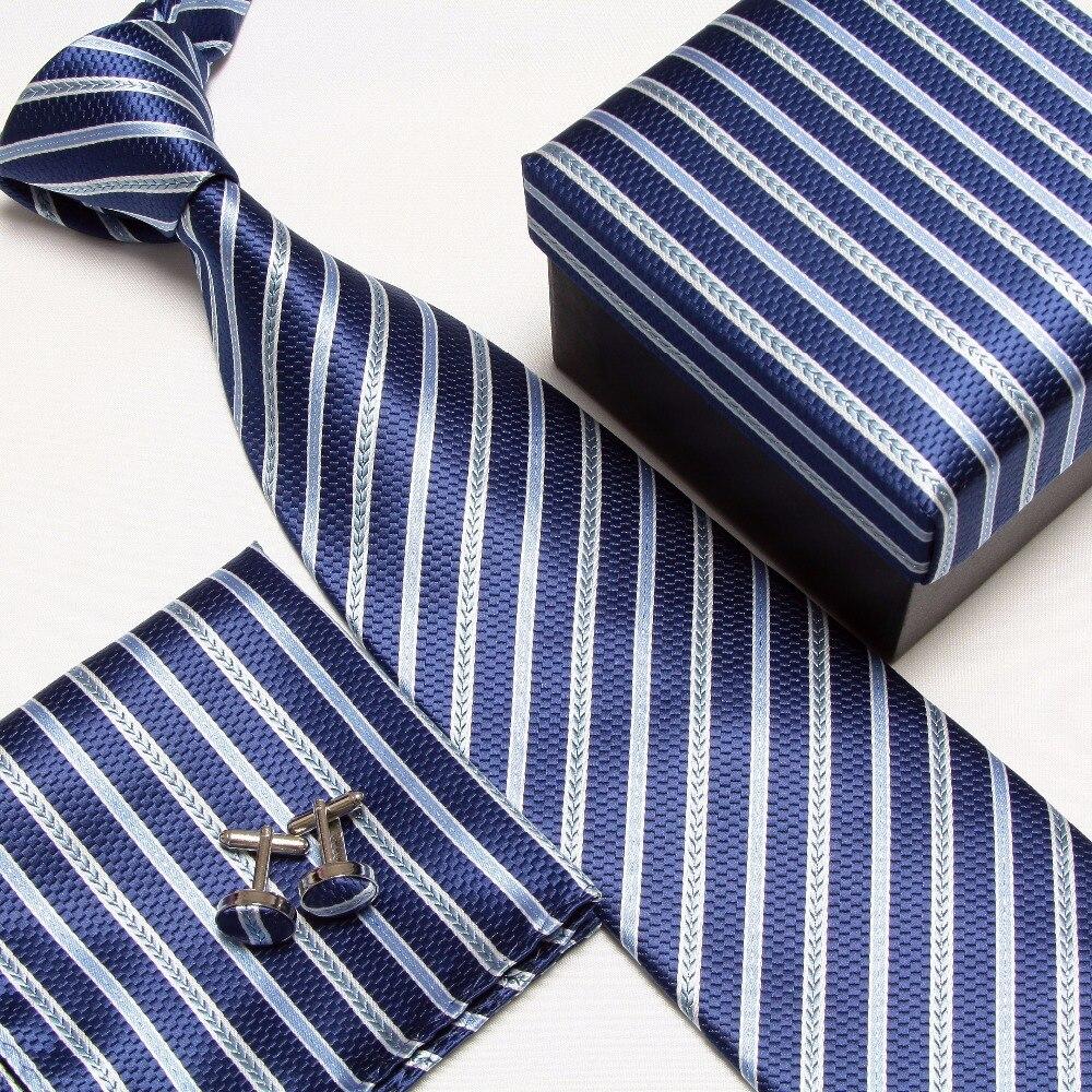 Полосатый набор галстуков галстуки Запонки hanky высокого качества галстуки Запонки карманные квадратные не-Тряпичные носовые платки#8