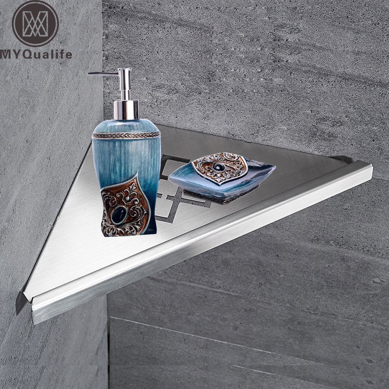 Wall Mount Stainless Steel Storage Basket Shower Room Commodity Rack Soap Dish Shampoo Holder Bathroom Shelves bathroom shelves stainless steel wall mount shower corner shelf shampoo storage basket modern home accessories holder wf 18067
