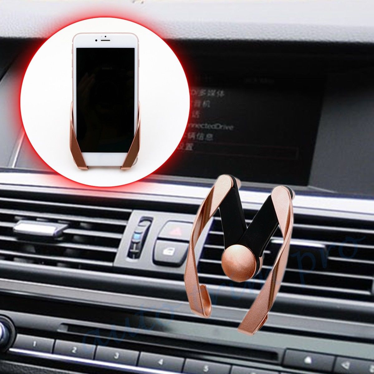 Fashion Vehicle Car Rose Gold Cell Phone GPS Holder Cradle Stand Bracket Adjust Air Vent Mount Universal Accessories Trim