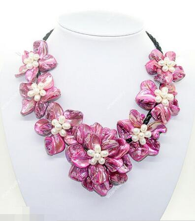 FREE SHIPPING>>>@@ Wholesale price 16new ^^^^ fashion jewel white pearl pink mother of pearl shell weave 7 flower necklace 18
