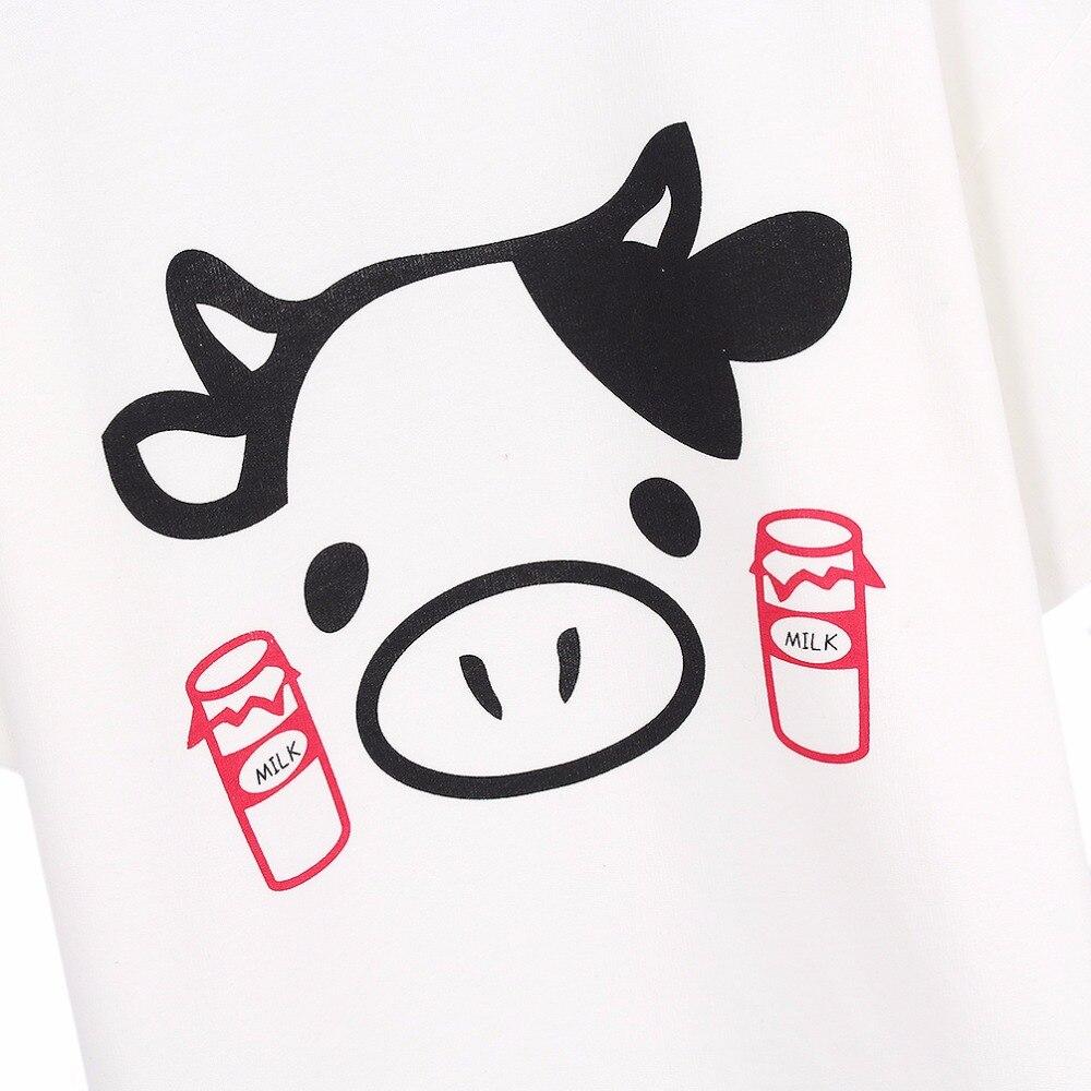 Qlychee Fashion Cute Cow Print T Shirt White Cute Flounced Loose