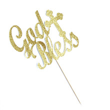 20x Glitter Gold / Silver God Bless + Cross Cake Topper