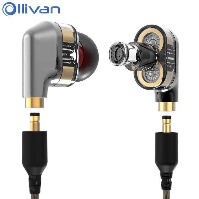 Ollivan Double Dynamique Pilote Double Unité Écouteurs Avec MMCX Câble 4D Stéréo Auriculares Subwoofer HIFI Casques Dans L'oreille DJ Écouteurs