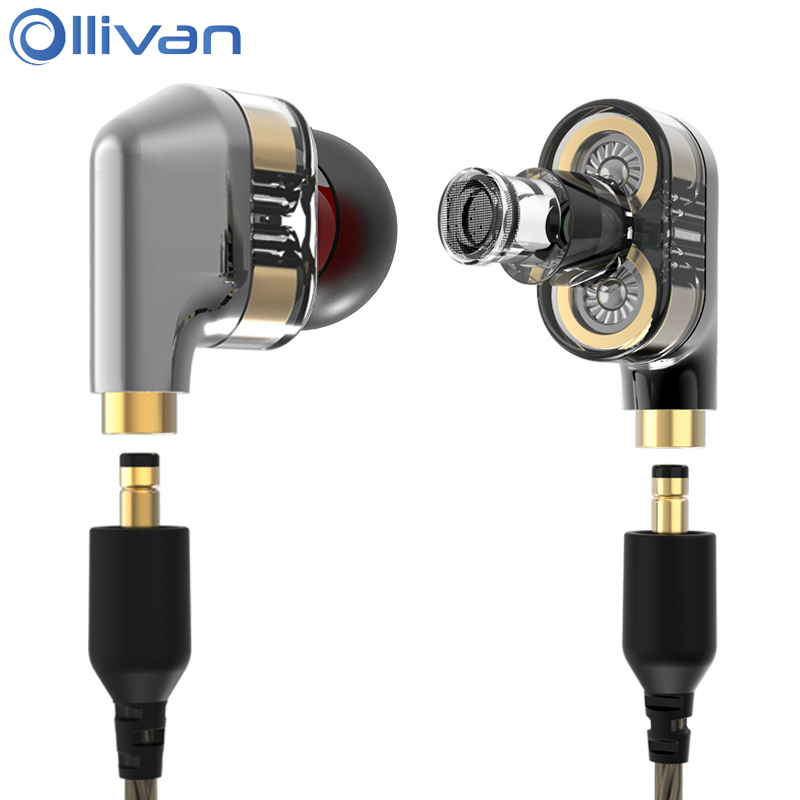 Ollivan Dual Dynamic Driver Double Unit Earphone With MMCX Cable 4D Stereo Auriculares Subwoofer HIFI Headsets In Ear DJ Earbuds