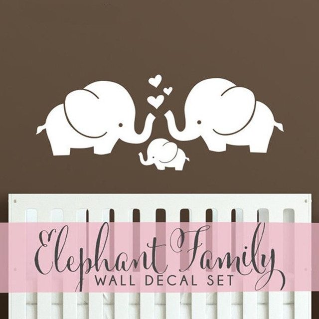 Cute Elephant Hearts Family Wall Decals Baby Nursery Decor Kids Room Stickers Hipster Modern Retro
