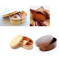 Mittagessen Box Natürliche Holz Holz Bento Lunchbox Lebensmittel Behälter Japanischen Reise Schule Camping Mittagessen Box Bequem|Lunchboxen|   -