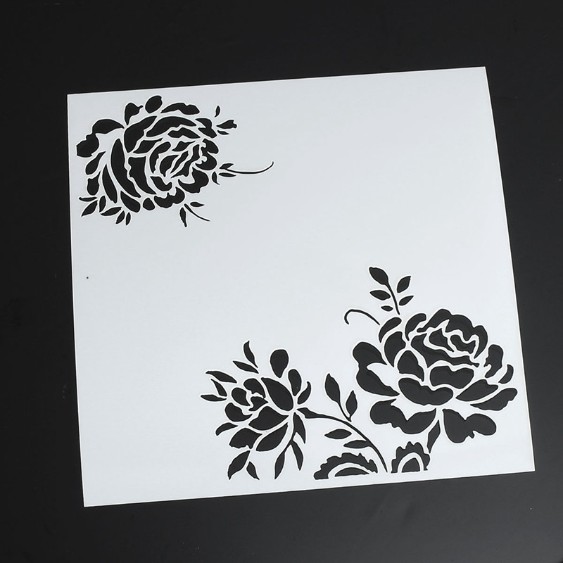KiWarm Rose Flower Layering Painting Template Stamps for DIY Scrapbooking Photo Album Cards Decorative Embossing DIY Crafts plastic embossing foldet flower diy scrapbooking photo album card paper craft decoration template