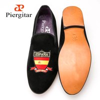 Four countries flag embroidered purple leather insole genuine leather outsole men velvet shoes men loafer men flats freeshipping