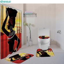 Dafield אפריקאי מקלחת וילון סט 4 Pcs סטי שטיח אסלת כיסוי אמבטיה מחצלת סט אביזרי אמבטיה וילונות עם ווים