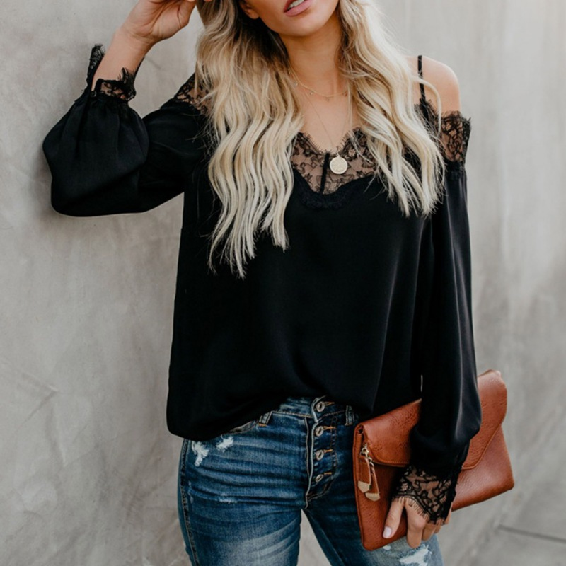 Fashion 2019 Sexy V Neck Sling Strapless Lace Stitching Shirt Long Sleeve Chiffon Blouse Shirt Summer Women Tops And Blusas in Blouses amp Shirts from Women 39 s Clothing