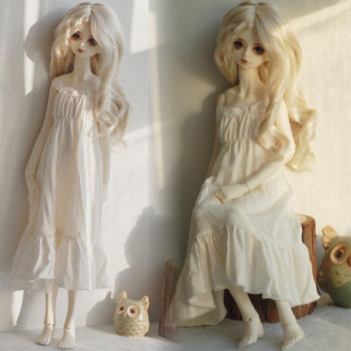 NEW Classics White Lace Nightgown Long Skirt 1/3 1/4 BJD SD MSD Doll Clothes new black lace evening dress with sequins for bjd girl 1 3 1 4 msd doll clothes