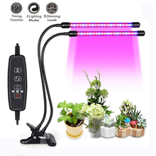 LED Grow Light 5/10/15/18/27W Full Spectrum Plant Lamp Dual Three Head for Indoor Greenhouse Grow Tent Plants Grow Light Adapter