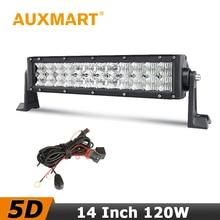 Auxmart 5D LED Bar 14 pulgadas 120 W LLEVÓ la Barra Ligera Del Cree Chips luces 4×4 SUV 4WD Camioneta Pickup RZR 12 V 24 V Vehículos