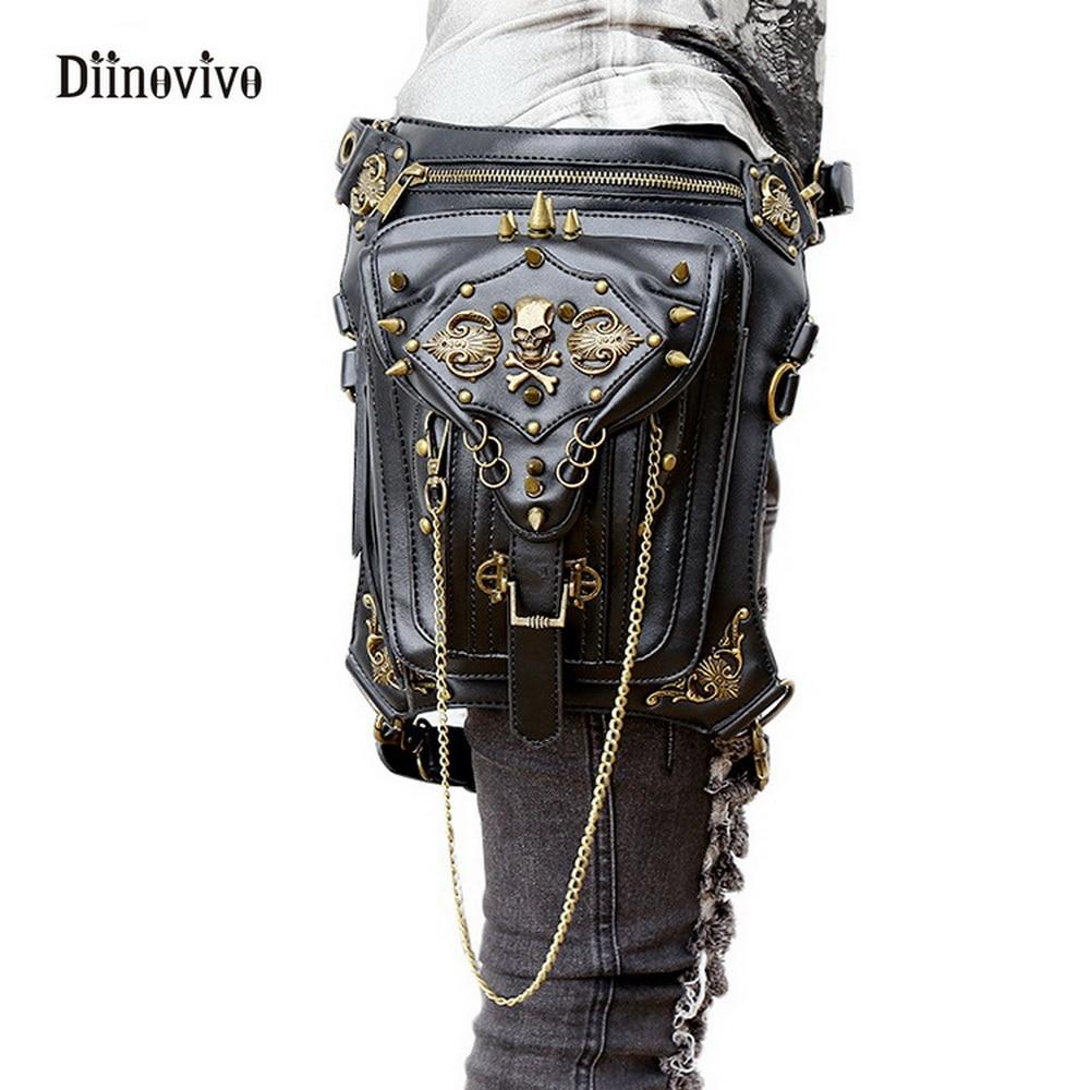 DIINOVIVO Fashion Gothic Women Messenger Bag Steampunk Skull Retro Punk Bag Female Waist Bag Rock Style Shoulder Bags WHDV0112