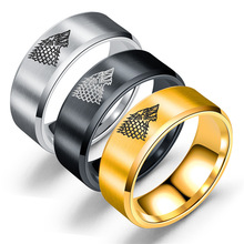 Europe and the United States retro 8 mm stainless steel ice wolf ladies mens ring titanium head