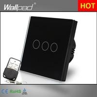 110 220V EU UK Standard Wallpad Black Glass Touch LED Indicator 3 Gang RF433 Smart Remote