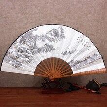 10 дюймов большой бамбуковый Складной вентилятор для мужчин шелковые вентиляторы для свадебного украшения китайские персонажи веер живопись ремесла подарок