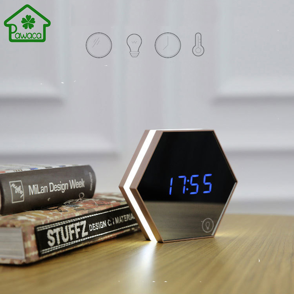 1Pcs Multi-function Touch Sensing Led Digital Alarm Clock Night Light Temperature Display Table Lamp Makeup Mirror Travel Clocks