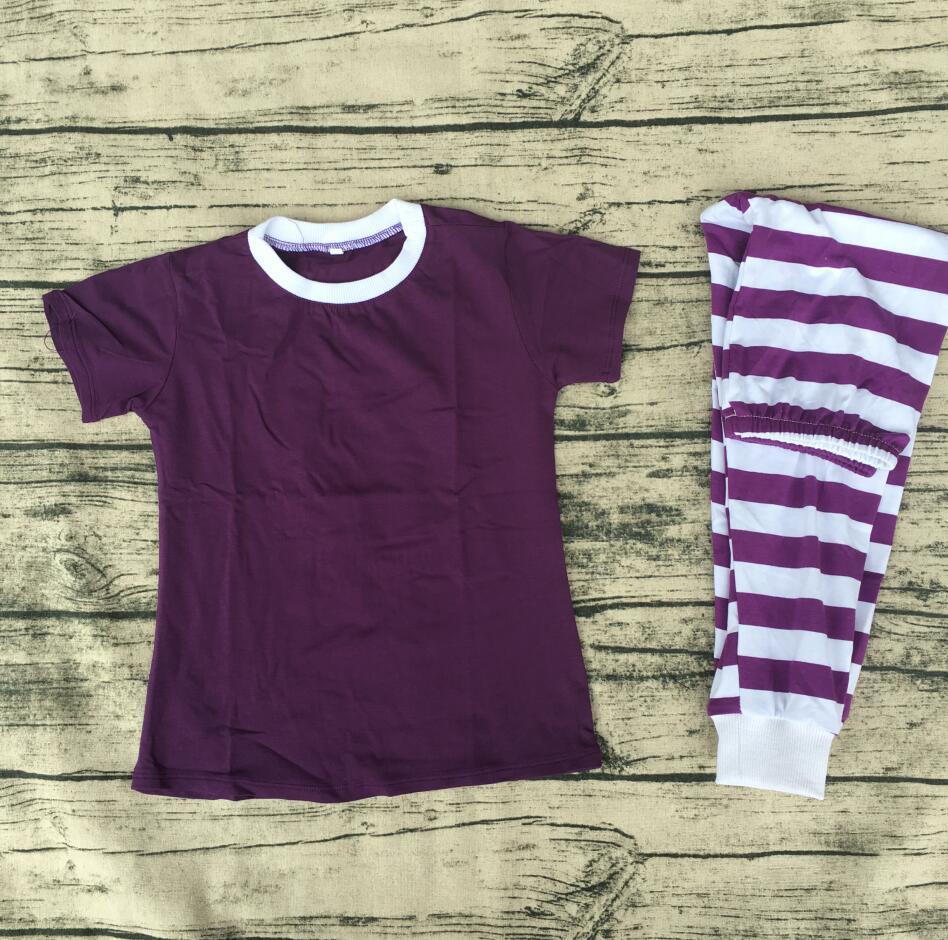 New design short sleeve stripe baby & lady matching family clothing set children girls pajamas