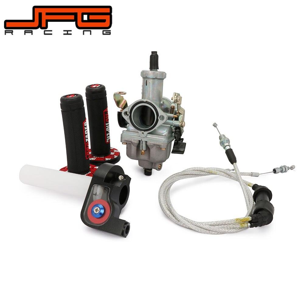 Motorcycle 30mm PZ30 Carburetor Gas Power Jet Accelerating Pump Visiable Transparent Throttle Settle Dual Cable Grips