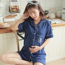 Купить с кэшбэком Cotton 2 Pieces Maternity Pajamas Set Pregnant Women Lounge Nursing Sleepwear Breastfeeding Pajamas Maternity Clothes
