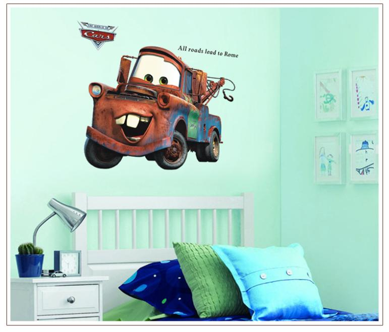 Pixar cars Mater wall stickers for kids room/All Roads Lead to Rome quote strickers home decor 3D ZY9007