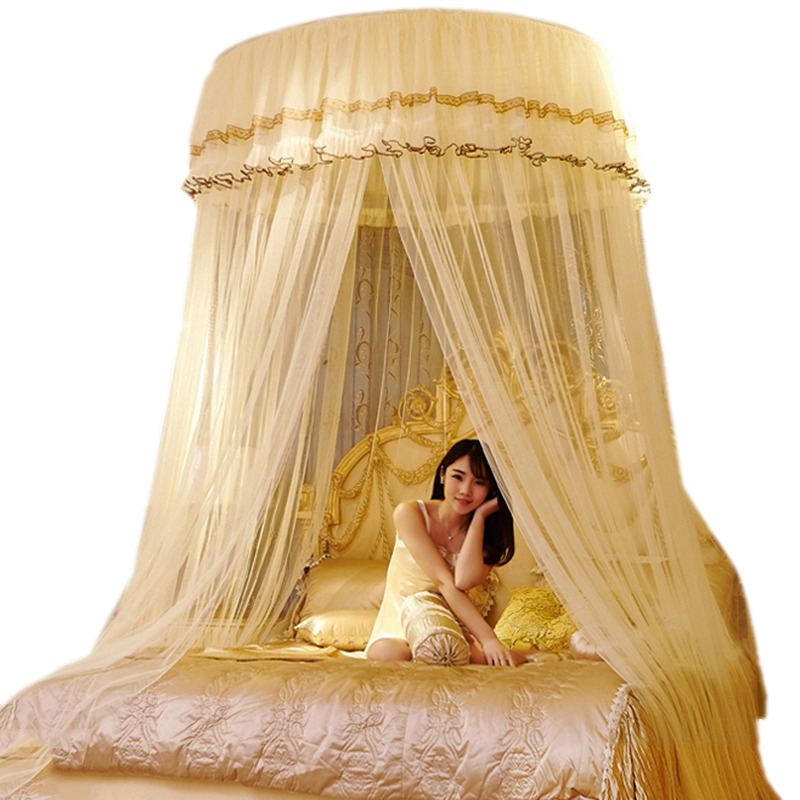luxury romantic hung dome mosquito net princess students insect bed canopy netting lace round. Black Bedroom Furniture Sets. Home Design Ideas