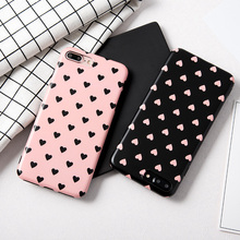 Cute love heart painted case For iphone 7 7plus girl style soft silicon case for iphone X 6 6s 8 8plus 6splus protective case