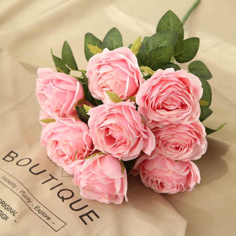 10 หัวกุหลาบประดิษฐ์ดอกไม้ช่อดอกไม้สีชมพูกุหลาบดอกไม้สำหรับงานแต่งงานคริสต์มาสตกแต่งดอกไม้ปลอม