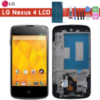 "4.5"" Black For LG Optimus Google Nexus 4 E960 LCD Display Touch Screen Digitizer with Bezel Frame Full Assembly Parts Glue tools|lcd display touch screen|e960 lcd|touch screen digitizer -"