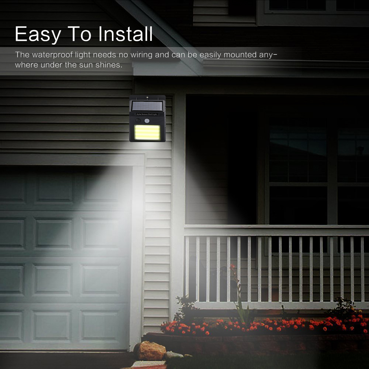 Solar 2LED PIR Motion Sensor Wall Light Stair Gate Outdoor Garden Security Lamp