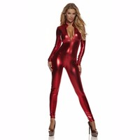 Icostumes Women S Metallic Zip Front Mock Neck Catsuit Biketard Unitard Shiny Bodysuit